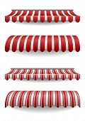 stock photo of canopy roof  - detailed illustration of set of striped awnings - JPG