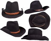 Cowboy Black Hats Isolated On White Background