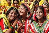 Rajasthani Girls Are Preparing To Dance Perfomance At Camel Festival,India