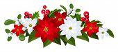 Weihnachten-Bouquet mit roten und weißen Poinsettias, Holly und Mistel. Vektor-Illustration.