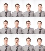 stock photo of boring  - A business man is isolated on white and expressing many different moods - JPG