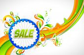 pic of ashok  - illustration of sale banner with Indian flag tricolor swirl - JPG