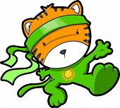 foto of tiger cub  - Cute Tiger Cub Ninja Vector - JPG