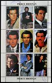CHECHNYA - CIRCA 1999: Collection stamps printed in Chechnya shows Pierce Brosnan circa 1999