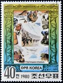 A stamp printed in North Korea shows Edmund Hillary and Shri Tenzing series The Conqueror of Eath