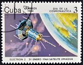 CUBA - CIRCA 1984: A stamp printed in Cuba shows a space ship Satilite Electron II circa 1984.