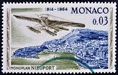 MONACO - CIRCA 1964: stamp printed in Monaco shows Nieuport monoplane circa 1964