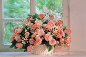image of flower vase  - flowers and window - JPG