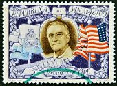 SAN MARINO - CIRCA 1947: A stamp printed in San Marino shows image of President Theodore Roosevelt