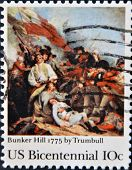 A stamp printed in USA shows Bunker Hill 1775 by Trumbull Bicentennial circa 1975