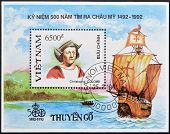 VIETNAM - CIRCA 1992: A stamp printed in Vietnam shows Christopher Columbus circa 1992