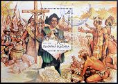 BULGARIA - CIRCA 1992: A stamp printed in Bulgaria shows Christopher Columbus in the New World