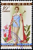 COLOMBIA - CIRCA 1959: A stamp printed in Colombia shows Luz Marina Zuluaga Miss Universe circa 1959