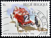 Belgien um 1996: eine Briefmarke gedruckt in Belgien zeigt Alfa Romeo r2 (1925) um 1996