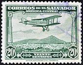 EL SALVADOR - CIRCA 1940: A stamp printed in el Salvador shows plane flying over El Salvador