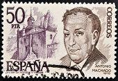 Espanha - por volta de 1978: um selo imprimido em shows de Espanha Antonio Machado por volta de 1978