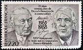 A stamp printed in France  shows the Konrad Adenauer and Charles de Gaulle circa 1988