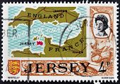 JERSEY - CIRCA 1990: A stamp printed in Jersey shows map of the island of Jersey in the British Chan