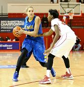 NEW YORK-JAN 2: Delaware Blue Hens guard Elena Delle Donne (11) looks to pass around St. John's Red