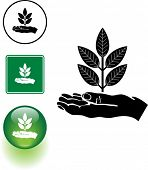 hand and plant symbol sign and button
