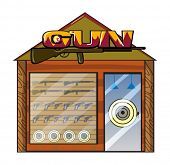 picture of gun shop  - Illustration of a gun shop on a white background - JPG