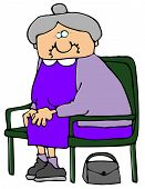 stock photo of old lady  - This illustration depicts an old woman sitting on a green bench - JPG