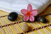Spa Towel, Flower And Massage Stones