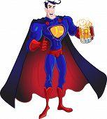 Vector superhéroe con cerveza aislada sobre un fondo blanco