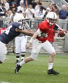 Penn State quarterback Matthew McGloin drops back to pass