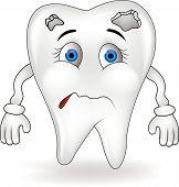 Sad tooth cartoon character
