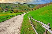 stock photo of apennines  - Farmhouses on the Slopes of the Apennines Sunset - JPG