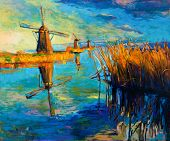 image of water-mill  - Original oil painting showing beautiful lakesunset landscape - JPG