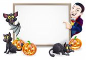 Halloween Sign With Vampire and Bat