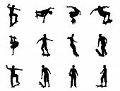 picture of skate board  - Very high quality and highly detailed skating skateboarder silhouette outlines - JPG