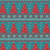 Christmas ornaments - seamless knitted background