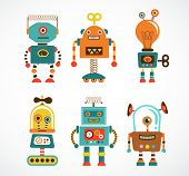 image of cartoons  - Set of cute vintage robots - JPG