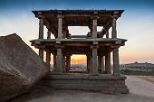 stock photo of vijayanagara  - Ruined building at the sunrise Hampi India - JPG