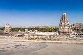 image of vijayanagara  - virupaksha hindu temple and ruins hampi india - JPG