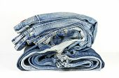 Folded Washed-out Blue Jeans