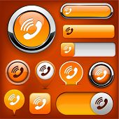 Phone orange design elements for website or app. Vector eps10.