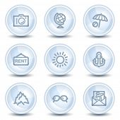 Travel web icons set 5, light blue glossy circle buttons