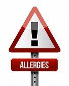 image of hay fever  - allergies road sign illustration design over a white background - JPG