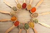 stock photo of spoon  - Assortment of spices in wooden spoons on wooden background - JPG