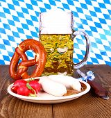 image of pretzels  - White sausage pretzel beer radish with mustard close up - JPG