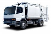 foto of trash truck  - White Garbage Truck Isolated with drop Shadow - JPG