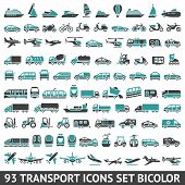 pic of ski boat  - 93 Transport icons set bicolor - JPG