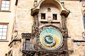 Famous Astronomical Clock At The Old Town Square In Prague, Czech Republic, Europe
