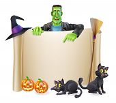 stock photo of frankenstein  - A Halloween scroll sign with a Frankenstein - JPG
