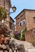 Narrow Street Old Traditional Houses Village, Majorca Island