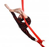 Acrobatic Gymnastic Girl Exercising On Red Rope
